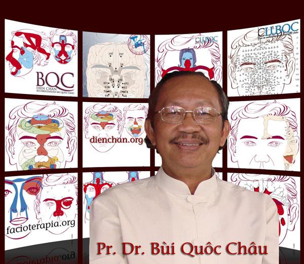 Le Professeur Bui Quoc Chau et les schémas du Dien Chan